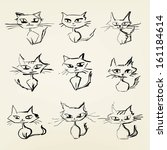 hand drawn grumpy cats vector... | Shutterstock .eps vector #161184614
