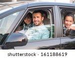 happy smiling family posing in... | Shutterstock . vector #161188619