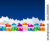 background with cartoon village ... | Shutterstock .eps vector #161200004
