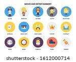 entertainment icons set for... | Shutterstock .eps vector #1612000714