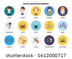 entertainment icons set for... | Shutterstock .eps vector #1612000717