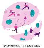 various people at park... | Shutterstock . vector #1612014337