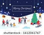 winter people merry christmas... | Shutterstock . vector #1612061767