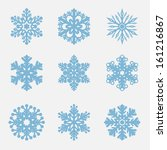 geometric blue snowflakes set | Shutterstock .eps vector #161216867