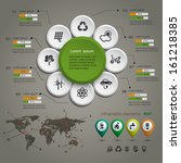 ecology info graphic with map ... | Shutterstock .eps vector #161218385