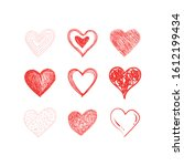 hearts doodles collection.... | Shutterstock .eps vector #1612199434
