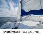 Sailing On A Catamaran In Light ...