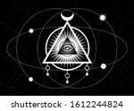 mystical drawing  all seeing... | Shutterstock .eps vector #1612244824