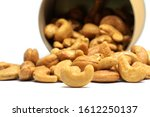 cashew nut in brown box... | Shutterstock . vector #1612250137