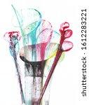 art abstract flowers .hand...   Shutterstock . vector #1612283221