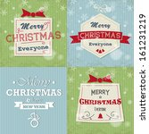 blue and gren retro christmas... | Shutterstock .eps vector #161231219