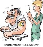 nurse and strong man. a cartoon ... | Shutterstock .eps vector #161231399