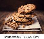 chocolate chip cookies on linen ... | Shutterstock . vector #161234591