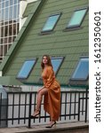 Small photo of Flirting european fashion model with curvy bodyshape in urban environment. Flirt and coquetry concept Stylish outside portrait. seduction and temptation concept, vertical, soft light