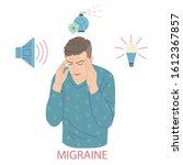 man with migraine pressing... | Shutterstock .eps vector #1612367857