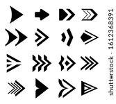 set of black direction arrows....   Shutterstock . vector #1612368391