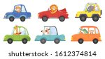 cute animals in funny cars....   Shutterstock . vector #1612374814