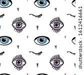 hand drawn eye seamless pattern....   Shutterstock .eps vector #1612416661