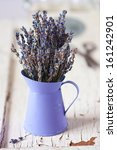 Bunch of dried Provence lavender flowers. - stock photo