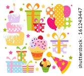 birthday element set | Shutterstock .eps vector #161243447