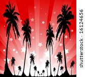 palm trees in front of a star... | Shutterstock .eps vector #16124656