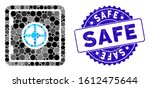 mosaic safe icon and grunge... | Shutterstock .eps vector #1612475644