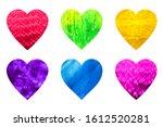 six multicolor hearts set.... | Shutterstock . vector #1612520281