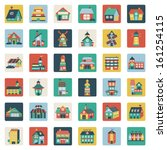 set of flat house icons | Shutterstock .eps vector #161254115