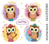 set cute funny owls with a...   Shutterstock . vector #1612553584