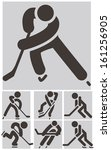 hockey icons set | Shutterstock .eps vector #161256905