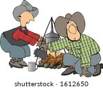 two men by a campfire | Shutterstock . vector #1612650