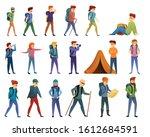 hiking icons set. cartoon set...   Shutterstock .eps vector #1612684591