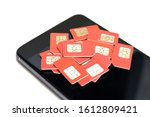 many red sim cards are on top... | Shutterstock . vector #1612809421