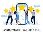 five stars mobile app feedback. ...   Shutterstock . vector #1612816411