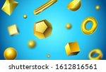 golden abstract 3d geometric... | Shutterstock . vector #1612816561