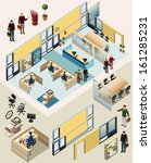office isometric. with workstation, manager room, waiting room, recepsionist, meeting room. detailed vector isometric with separated object