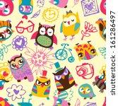 owl seamless background. hand... | Shutterstock . vector #161286497