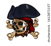 black ragged pirate flag with...   Shutterstock .eps vector #1612872157
