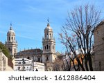 Jaen cathedral blue sky in Jaen, Spain. photo