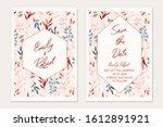 floral card set. botanical card ... | Shutterstock .eps vector #1612891921
