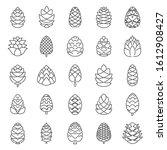 Pine Cone Botanical Icons Set....