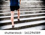 man runner running on stairs in ... | Shutterstock . vector #161296589