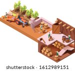 vector isometric winery and...   Shutterstock .eps vector #1612989151