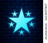 glowing neon star icon isolated ...