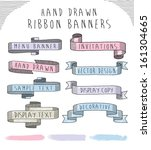 hand drawn banner and ribbon... | Shutterstock .eps vector #161304665