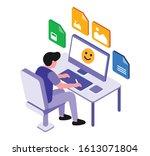 graphic designer designing... | Shutterstock .eps vector #1613071804