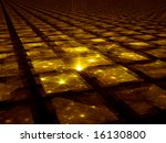 Golden Grid Hub - Fractal Illustration - stock photo