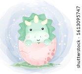 cute dinosaur illustration ... | Shutterstock .eps vector #1613095747