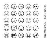 face set on black and white | Shutterstock .eps vector #161312051