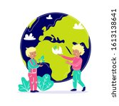 kids take care about earth.... | Shutterstock .eps vector #1613138641